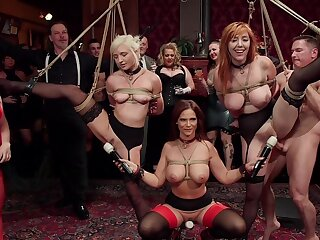BDSM party with rich next of kin and sub sluts Lauren Phillips and Eliza Jane