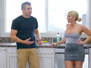 Busty flaxen-haired Christie Stevens gives a knead and takes a dick